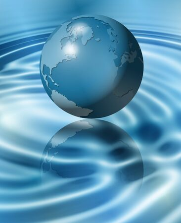 swell: An illustration of Earth flying above water and making ripples on the surface Stock Photo