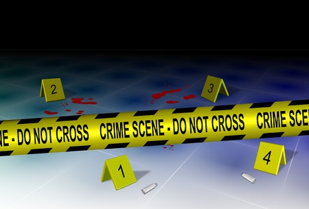 A yellow police tape spelling crime scene do not cross with some evidence on a floor Stock Photo - 12032875