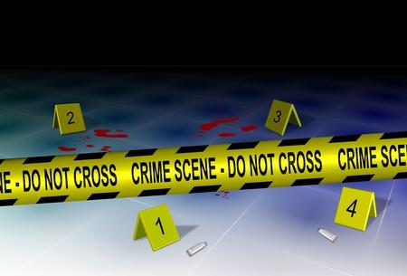 escena del crimen: Una cinta amarilla policial ortograf�a escena del crimen no se cruzan con alguna evidencia en un piso