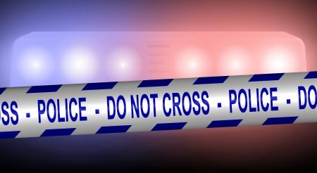 patrol cop: Cinta de la polic�a azul y blanca extendida frente a las luces del coche de la polic�a Foto de archivo