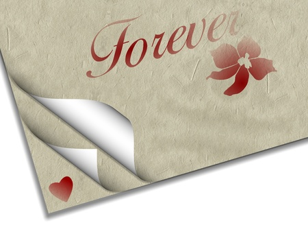 forever: Sheets of paper with a heart a flower and word forever printed on them