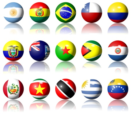 A collection of South American flags shaped as spheres photo