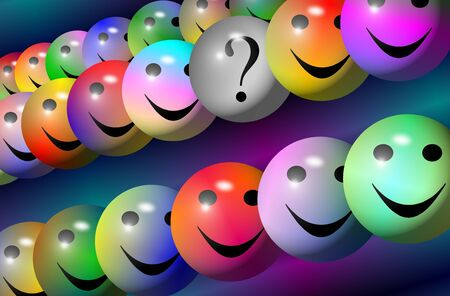 object with face: Colorful balls with happy faces and one with a question mark