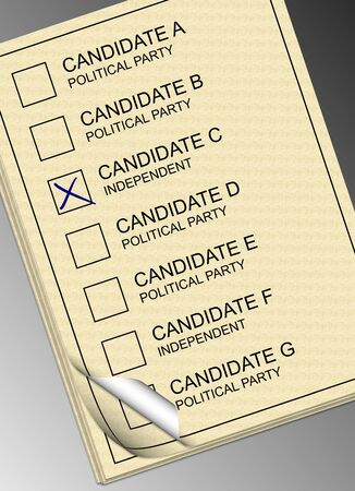A stack of yellow ballot papers with a black and white background photo