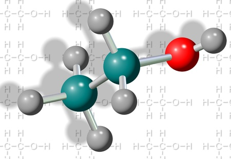 ethanol: A three dimensional illustration of an ethanol molecule Stock Photo
