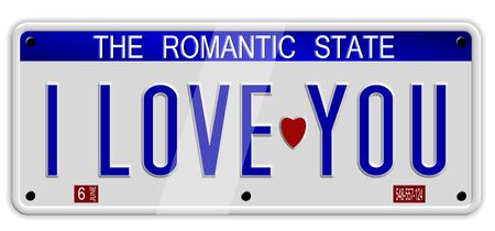 love you: White car number plates spelling I love you on the white background