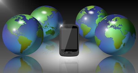 Four Earth globes surrounding a black mobile phone Stock Photo - 12179554