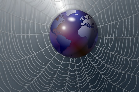 reflection internet: An illustration of Earth globe positioned in the middle of a spider web