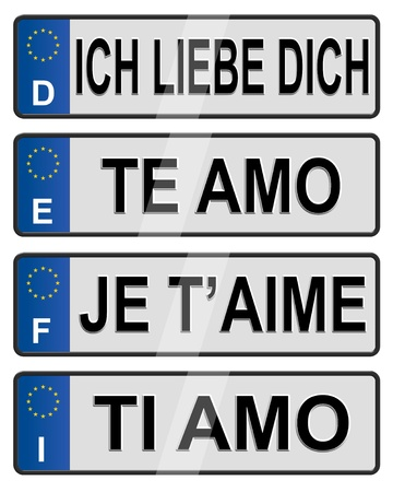 Four European Union number plates spelling I love you