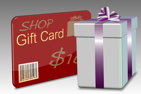 plastic card: An illustration of a gift card with a nicely wrapped present box Stock Photo