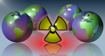 Four Earth globes surrounding a yellow radioactive symbol Stock Photo - 12179559
