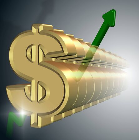 A row of golden dollar symbols with a green upwards chart photo