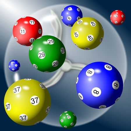 lotto: A group of lottery balls suspended in the air