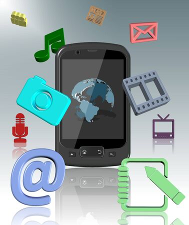 contact book: a mobile phone surrounded by communication and media icons Stock Photo