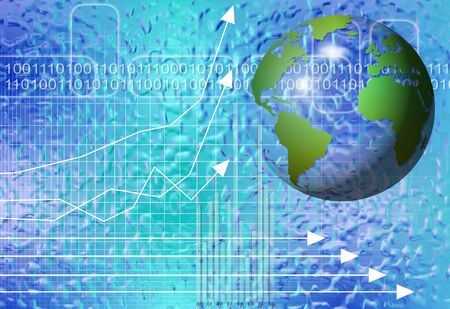 transparent globe with charts and graphs on a blue background Stock Photo - 12663802
