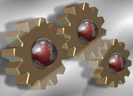gearwheel: A group of gear wheels with earth globes inside them Stock Photo