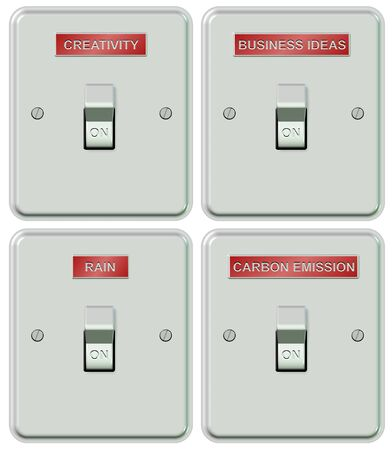 a collection of light switches with labels spelling different subjects photo