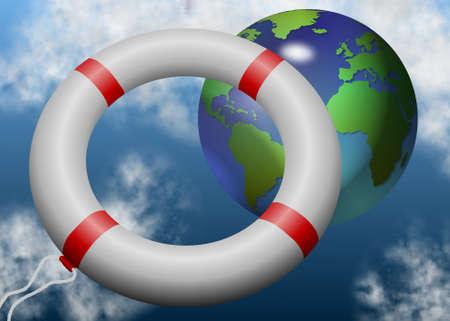 salvavidas: un anillo de salvar la vida volando hacia la Tierra con nubes en el fondo