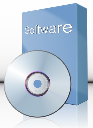 a DVD in front of cardboard box with a label spelling word software