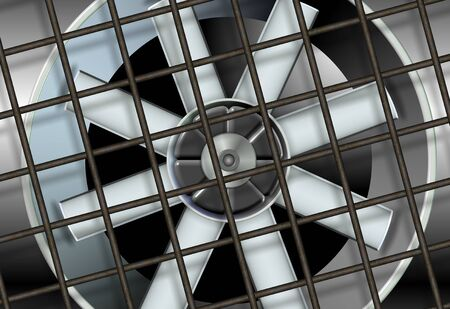 circulate: an illustration of a big industrial ventilation fan with a metal mesh in front of it Stock Photo