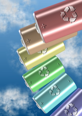 a group of batteries with a recycling symbol on them Stock Photo - 12663810