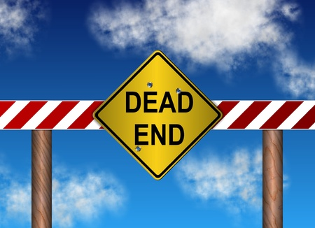 end of road: yellow metal sign spelling dead end with a blue sky in the background