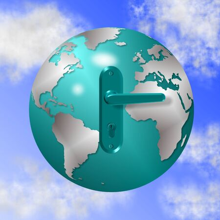 blue door handle attached to the earth globe photo