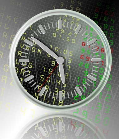 a white clock with a stock exchange board in the background Stock Photo - 12882947