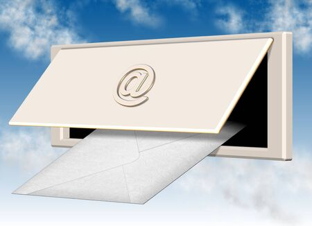 letterbox: a white letter going through letterbox hole with at symbol on the lid