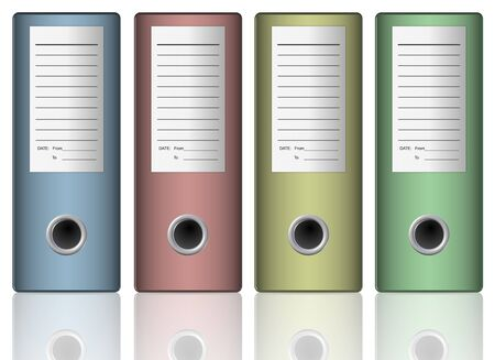 dossier: a row of file folders in different colors on a white background Stock Photo