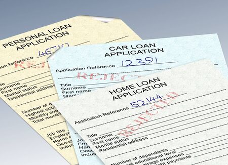 refused: three different loan applications with a red rejected stamp
