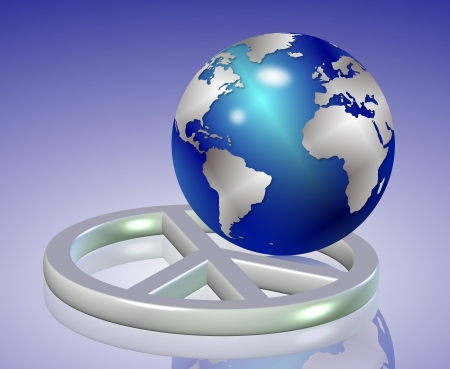 world peace: shiny earth globe positioned inside silver peace symbol