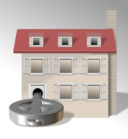an illustration of a family home with a big key in front of it Stock Illustration - 13035308