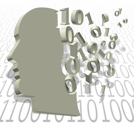 a binary code numbers creating a shape of a human head photo
