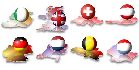 bandera de alemania: ocho banderas europeas en forma de una pelota
