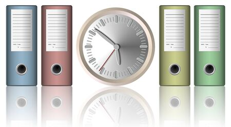 workload: a clock between office folders with the white background