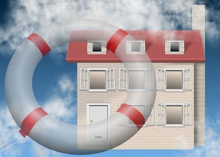 salvavidas: un anillo de salvar la vida volando hacia una casa de familia Foto de archivo