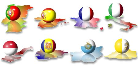 eight European flags in a shape of a ball