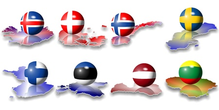 estonia: eight north European flags in a shape of a ball