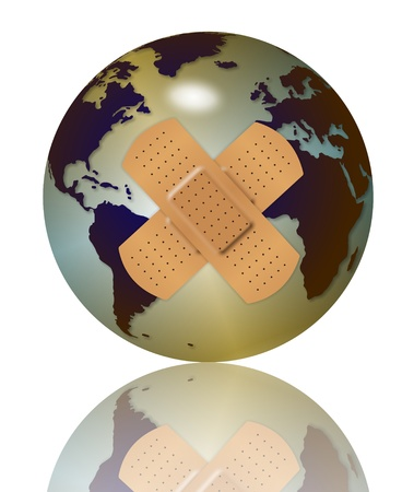 adhesive bandage: an abstract illustration of earth globe with two band aids