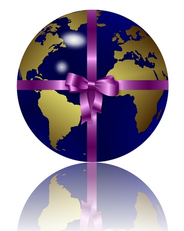 an illustration of a blue earth globe wrapped as a gift