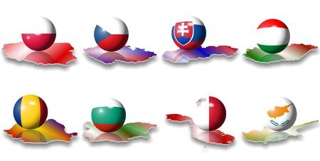 acht östlichen und südöstlichen europäischen Flaggen in Form einer Kugel
