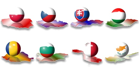 romania: eight eastern and south eastern European flags in a shape of a ball Stock Photo