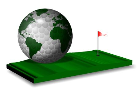 a golf ball and earth globe blended together on a green photo