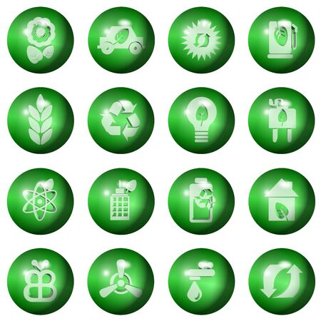 set of ecological icons shaped as green balls photo