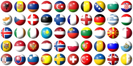 all european flags: complete collection of all European flags shaped as balls