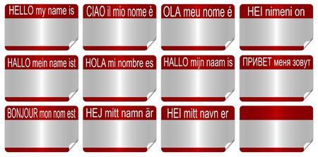 hello my name is in eleven European languages as name tags Stock Photo - 13586202