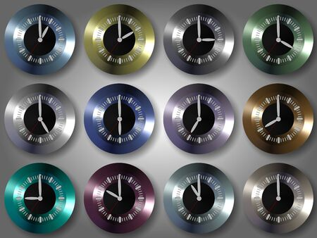 group of shiny colorful clocks showing different times photo