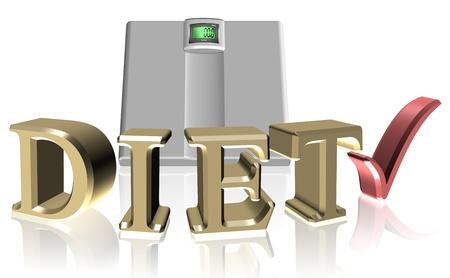 kilos: golden letters spelling diet surrounding a white scale Stock Photo