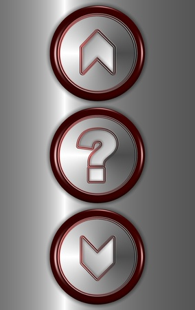 a close up of elevator buttons for going up and down with a question mark button in the middle photo